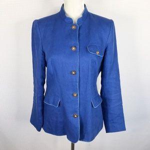 J Mclaughlin Linen Blue Button Front Jacket Size 8